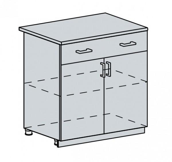 80D1S2 d. skříňka 2-dveřová se zásuvkou PRAGA bk/bílá
