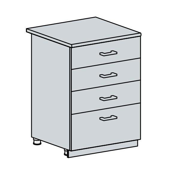 60D4S d. skříňka 4-zásuvková PRAGA bk/bílá