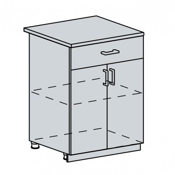 60D1S d. skříňka 2-dveřová se zásuvkou PRAGA bk/bílá