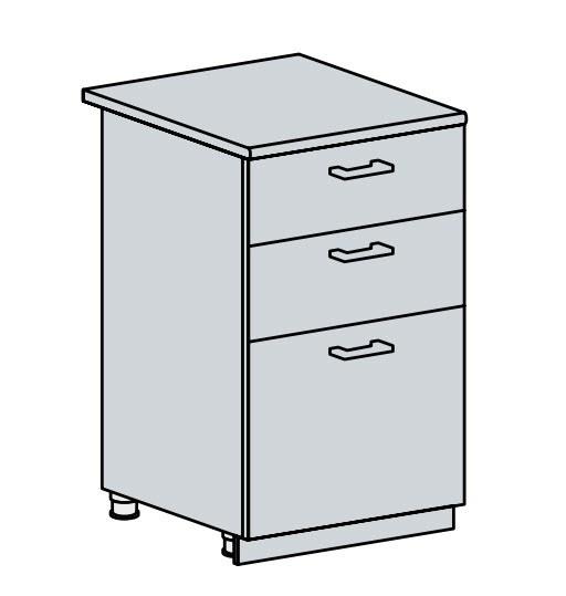50D3S d. skříňka 3-zásuvková PRAGA bk/bílá