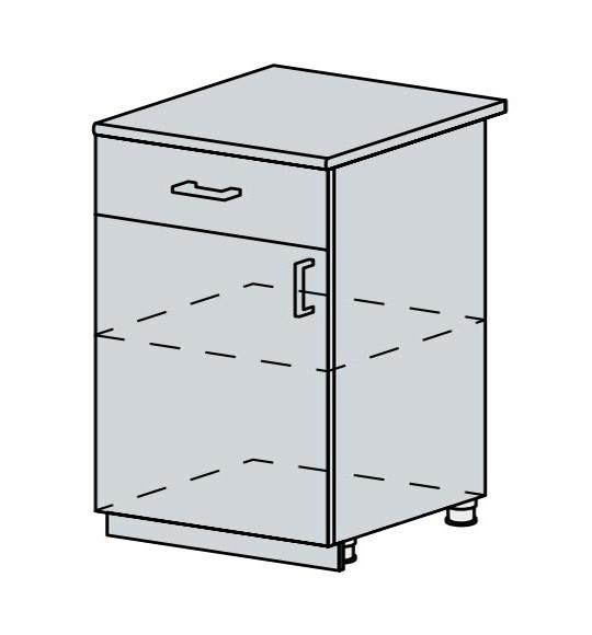 60D1D1S d. skříňka 1-dveřová se zásuvkou VERONA zlatý jasan