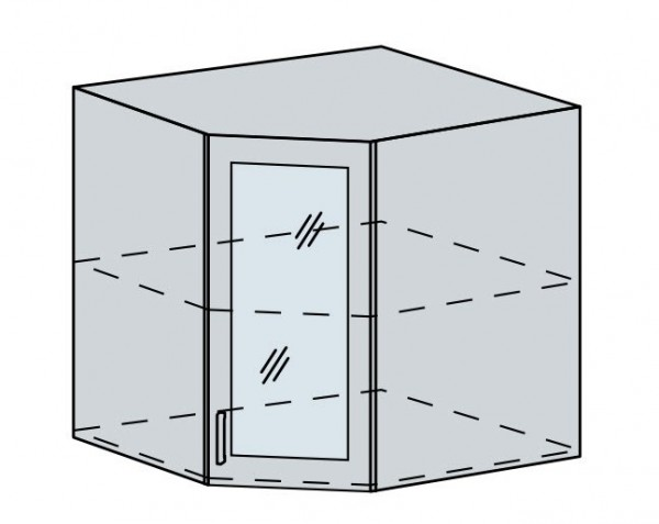 60HRS h. vitrína rohová PROVENCE šedá