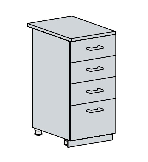 40D4S d. skříňka 4-zásuvková PROVENCE šedá
