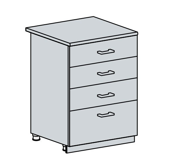 60D4S d. skříňka 4-zásuvková PROVENCE bílá