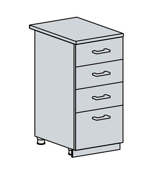 40D4S d. skříňka 4-zásuvková PROVENCE bílá