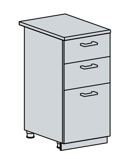 40D3S d. skříňka 3-zásuvková PROVENCE bílá
