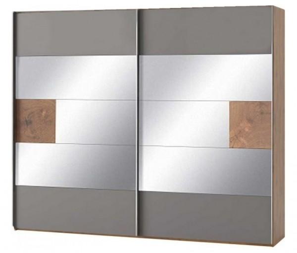 Šatní skříň 2-dveřová LIVORNO 73 dub wotan/šedá