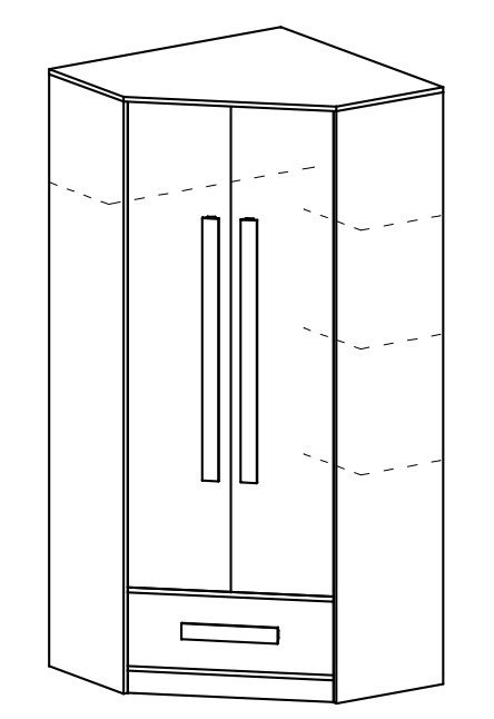 Šatní skříň rohová GULLIWER 2 bílá/tyrkys lesk