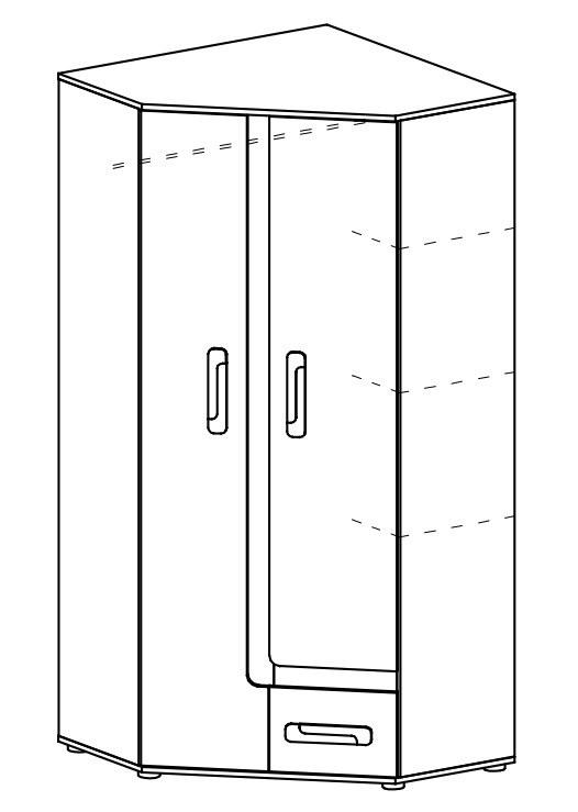 Rohová skříň APETTITA 2 antracit/tyrkys