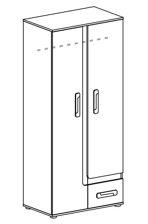 Šatní skříň APETTITA 1 antracit/tyrkys