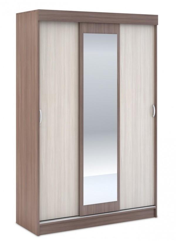 Šatní skříň BASIA 3D WK-551 se zrcadlem sv./tm. jasan šimo