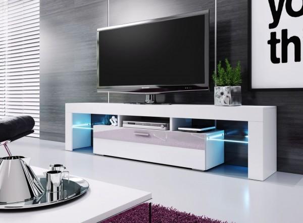 Televizní stolek VERA 190 bílá/bílá vysoký lesk