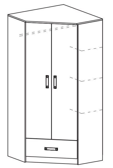 Rohová šatní skříň TRAFICO 2 bílá/tyrkys
