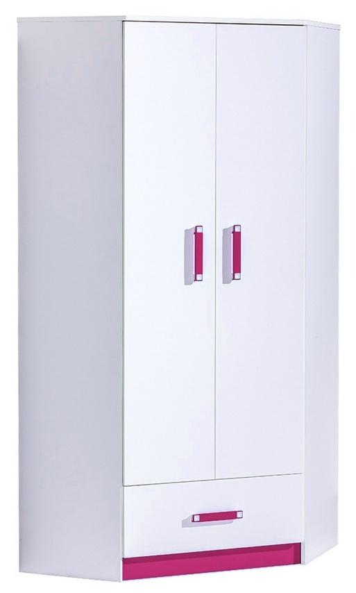 Rohová šatní skříň TRAFICO 2 bílá/růžová