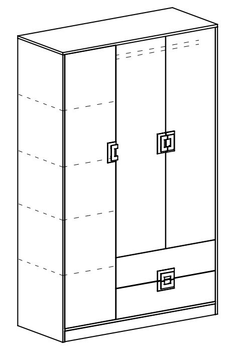 Šatní skříň 3-dveřová NIKO 3 dub jasný/bílá/tyrkys