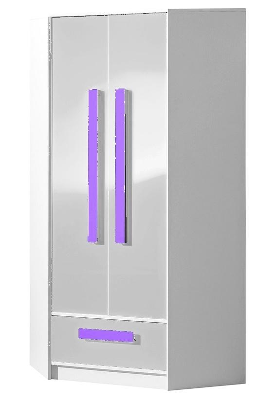Šatní skříň rohová GULLIWER 2 bílá lesk/fialová