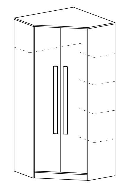 Rohová šatní skříň GYT 2 antracit/bílá/šedá