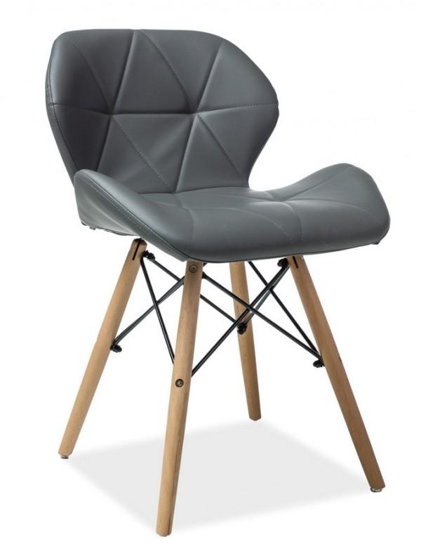 Jídelní židle MATIAS šedá ekokůže/buk