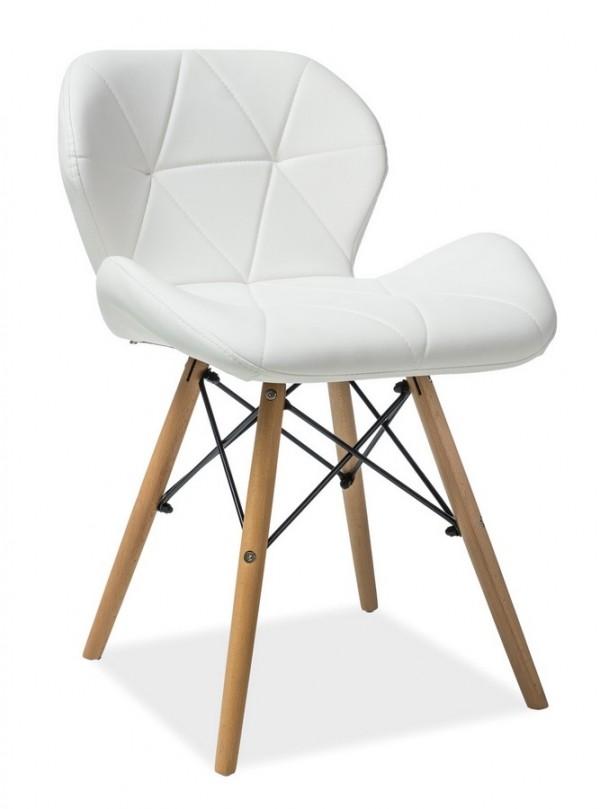 Jídelní židle MATIAS bílá ekokůže/buk