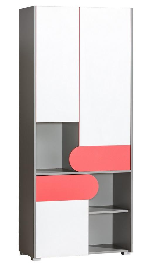 FUTURO F2 šatní skříň s regálem grafit/bílá/výběr barev