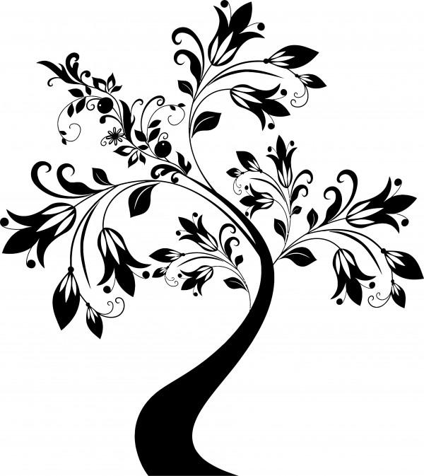 Samolepka na zeď - květinový strom 69x60cm
