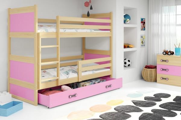 Patrová postel Riky borovice/růžová
