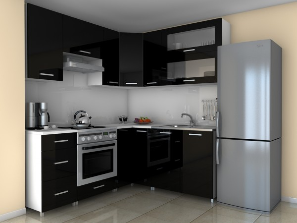 Rohová kuchyňská linka Grepolis MDR černý lesk