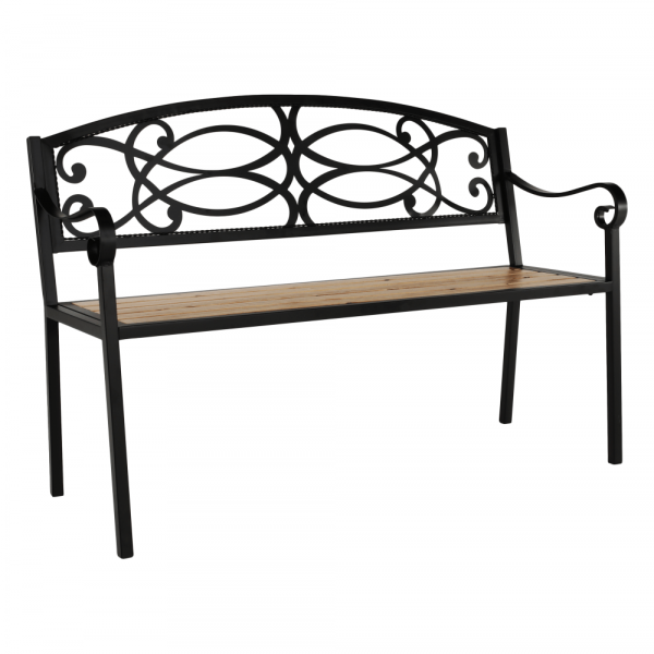 Zahradní lavička, černá / přírodní,, ROTINA