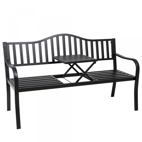 Zahradní lavička se stolkem, černá, DAGNO