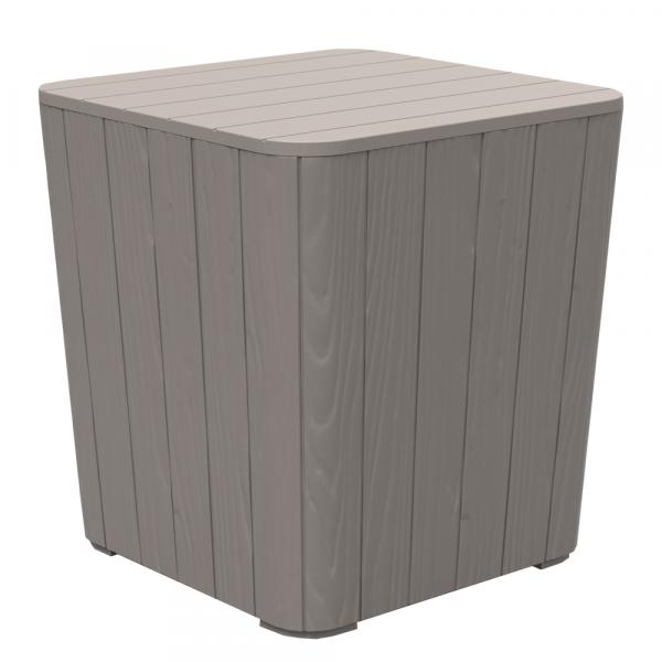 Zahradní úložný box / příruční stolek, šedá, IBLIS