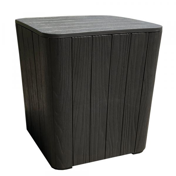 Zahradní úložný box / příruční stolek, černá, IBLIS